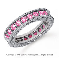 1 1/2 Carat Pink Sapphire Platinum Filigree Prong Eternity Band