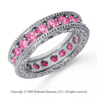 2 1/2 Carat Pink Sapphire Platinum Filigree Prong Eternity Band