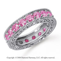 3 Carat Pink Sapphire Platinum Filigree Prong Eternity Band
