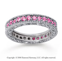 1 Carat Pink Sapphire 14k White Gold Filigree Prong Eternity Band