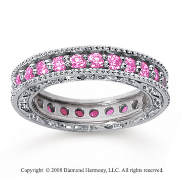 1 1/4 Carat Pink Sapphire 14k White Gold Filigree Prong Eternity Band