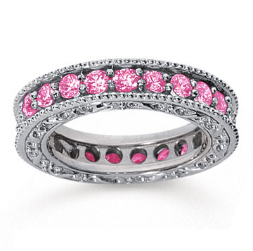 1 1/2 Carat Pink Sapphire 14k White Gold Filigree Prong Eternity Band