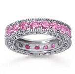 3 Carat Pink Sapphire 14k White Gold Filigree Prong Eternity Band