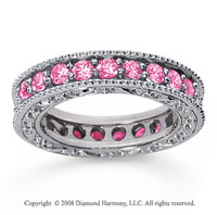 1 1/2 Carat Pink Sapphire 18k White Gold Filigree Prong Eternity Band