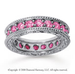 2 Carat Pink Sapphire 18k White Gold Filigree Prong Eternity Band