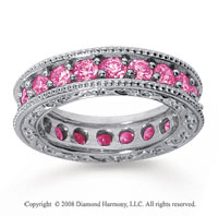 2 1/2 Carat Pink Sapphire 18k White Gold Filigree Prong Eternity Band