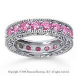 3 Carat Pink Sapphire 18k White Gold Filigree Prong Eternity Band