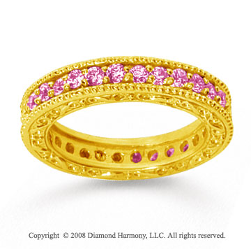 1 Carat Pink Sapphire 14k Yellow Gold Filigree Prong Eternity Band