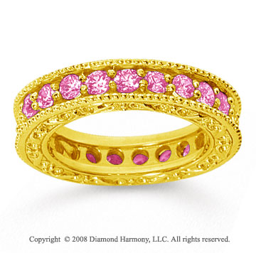 1 1/2 Carat Pink Sapphire 14k Yellow Gold Filigree Prong Eternity Band