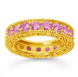 3 Carat Pink Sapphire 14k Yellow Gold Filigree Prong Eternity Band