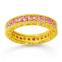 1 Carat Pink Sapphire 18k Yellow Gold Filigree Prong Eternity Band