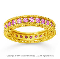 1 1/4 Carat Pink Sapphire 18k Yellow Gold Filigree Prong Eternity Band
