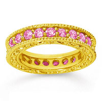1 1/2 Carat Pink Sapphire 18k Yellow Gold Filigree Prong Eternity Band