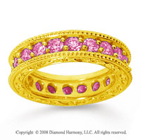 2 1/2 Carat Pink Sapphire 18k Yellow Gold Filigree Prong Eternity Band