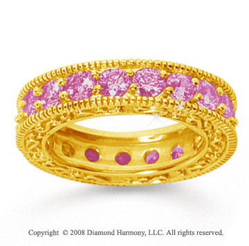 3 Carat Pink Sapphire 18k Yellow Gold Filigree Prong Eternity Band