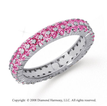 1 1/2 Carat Pink Sapphire Platinum Double Row Eternity Band