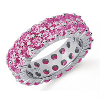 5 1/2 Carat Pink Sapphire Platinum Double Row Eternity Band