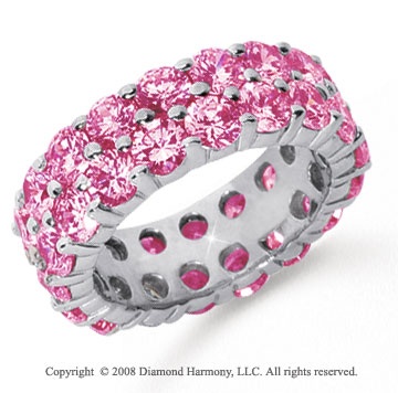 6 1/2 Carat Pink Sapphire Platinum Double Row Eternity Band