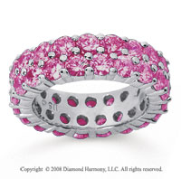 3 1/2 Carat Pink Sapphire 14k White Gold Double Row Eternity Band