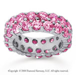 6 1/2 Carat Pink Sapphire 14k White Gold Double Row Eternity Band