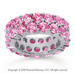 8 1/2 Carat Pink Sapphire 14k White Gold Double Row Eternity Band