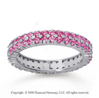 1 1/2 Carat Pink Sapphire 18k White Gold Double Row Eternity Band