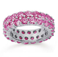 5 1/2 Carat Pink Sapphire 18k White Gold Double Row Eternity Band