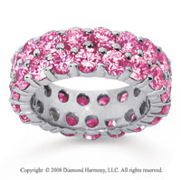 6 1/2 Carat Pink Sapphire 18k White Gold Double Row Eternity Band