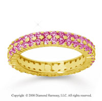 1 1/2 Carat Pink Sapphire 14k Yellow Gold Double Row Eternity Band