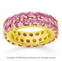 3 1/2 Carat Pink Sapphire 14k Yellow Gold Double Row Eternity Band