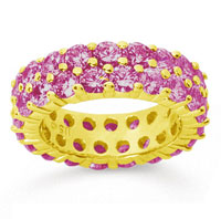 5 1/2 Carat Pink Sapphire 14k Yellow Gold Double Row Eternity Band