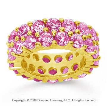 8 1/2 Carat Pink Sapphire 14k Yellow Gold Double Row Eternity Band