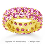 6 1/2 Carat Pink Sapphire 18k Yellow Gold Double Row Eternity Band