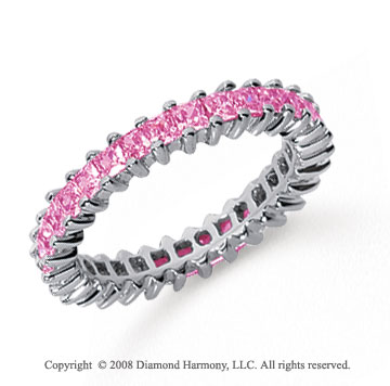 1 1/2 Carat Pink Sapphire Platinum Princess Eternity Band
