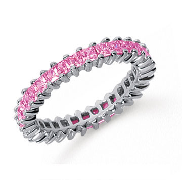 2 Carat Pink Sapphire Platinum Princess Eternity Band
