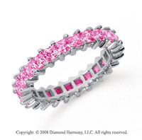 2 1/2 Carat Pink Sapphire Platinum Princess Eternity Band
