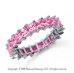 3 1/2 Carat Pink Sapphire Platinum Princess Eternity Band