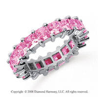 4 3/4 Carat Pink Sapphire Platinum Princess Eternity Band