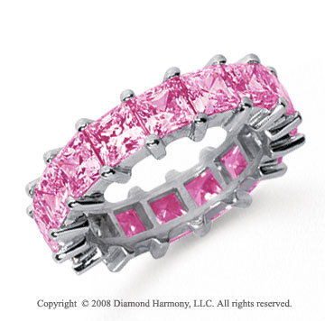 6 1/2 Carat Pink Sapphire Platinum Princess Eternity Band