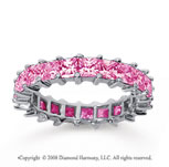 3 1/2 Carat Pink Sapphire 14k White Gold Princess Eternity Band