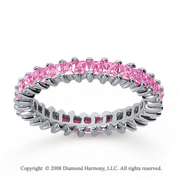 1 1/4 Carat Pink Sapphire 18k White Gold Princess Eternity Band