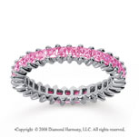 1 1/2 Carat Pink Sapphire 18k White Gold Princess Eternity Band