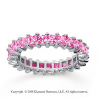 2 1/2 Carat Pink Sapphire 18k White Gold Princess Eternity Band