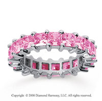 4 3/4 Carat Pink Sapphire 18k White Gold Princess Eternity Band