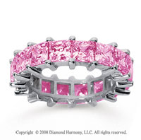 6 1/2 Carat Pink Sapphire 18k White Gold Princess Eternity Band