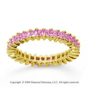 2 Carat Pink Sapphire 14k Yellow Gold Princess Eternity Band