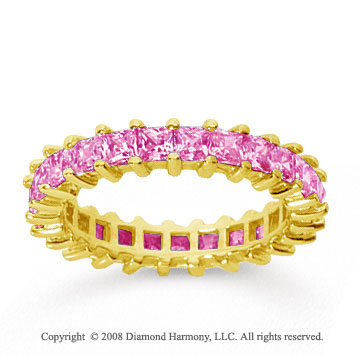 2 1/2 Carat Pink Sapphire 14k Yellow Gold Princess Eternity Band