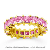 4 3/4 Carat Pink Sapphire 14k Yellow Gold Princess Eternity Band