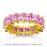 6 1/2 Carat Pink Sapphire 14k Yellow Gold Princess Eternity Band
