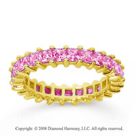 2 1/2 Carat Pink Sapphire 18k Yellow Gold Princess Eternity Band